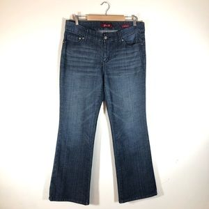 Seven7 Bootcut Dark Wash Jeans Embroidered Pockets